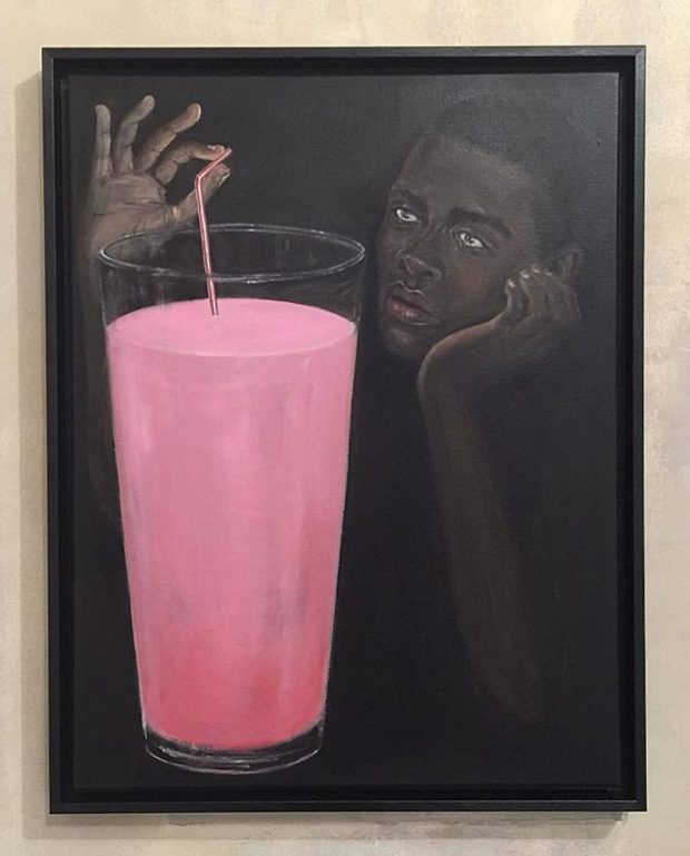 """""""Lait Fraise"""", 2016 oil on canvas 65 x 50 cm (25 1/2 x 19 3/4 in.) framed: 69 x 54 cm (24 x 21 1/4 in.)"""