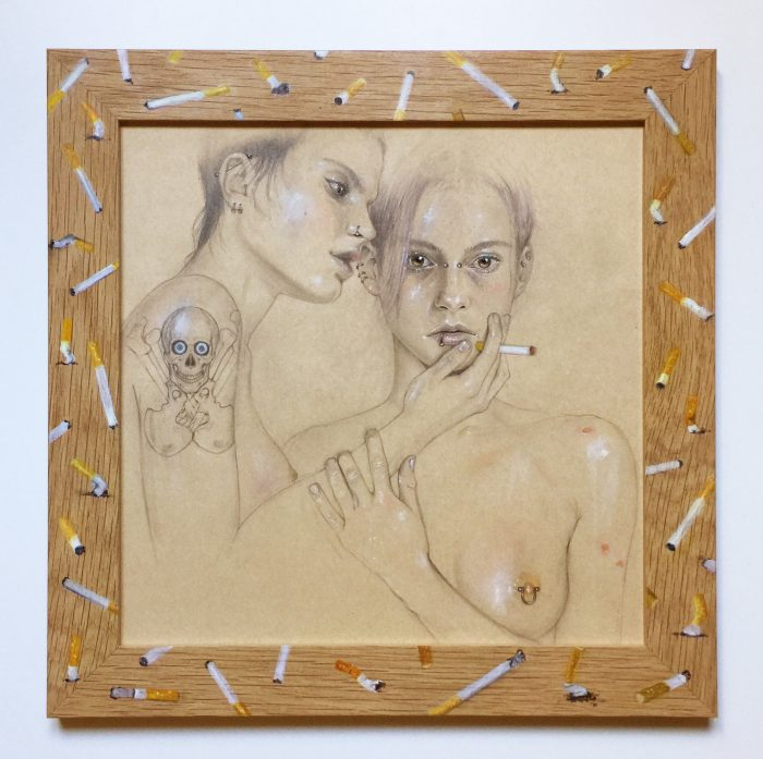 (I Love) The Way You Comb Your Hair, 2012/2017 Drawing: pencil, colored pencil, gouache, make-up powder and nail polish on paper, 30 x 30 cm Frame: oil on oak, glass, 36,5 x 36,5 cm