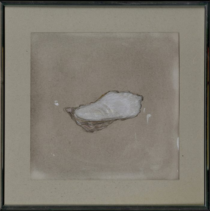 Oyster, 2016, pencil, colored pencil, gouache, nail polish on paper, 21,7 x 21,7 cm Framing : aluminium, glass, paper, 30 x 30 cm