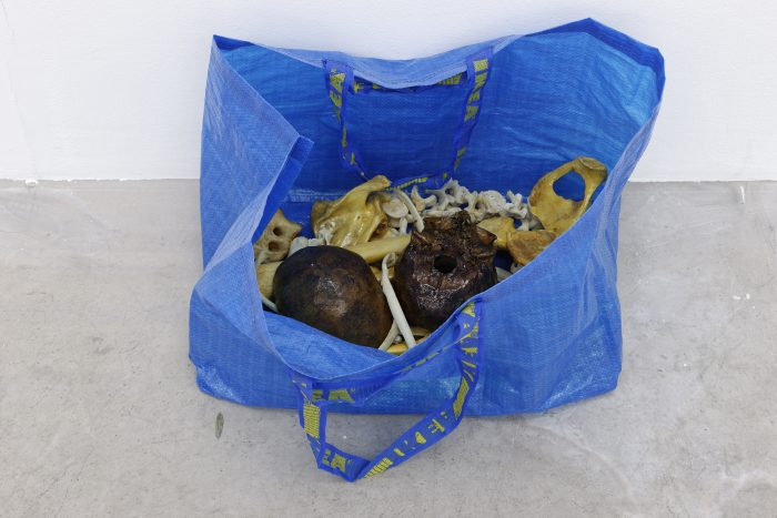 Collaboration with Puppies Puppies, Human Bones in Ikea Bag (blue) (yellow) (green), 2016, 45 x 45 x 18 cm (17 ¾ x 17 ¾ x 7 inches)