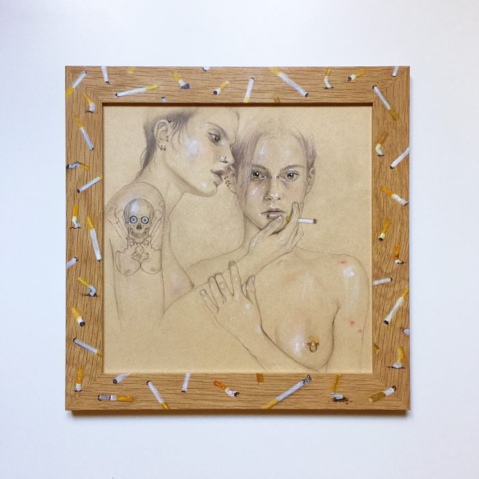 (I Love) The Way You Comb Your Hair, 2012-2017 Drawing: pencil, colored pencil, gouache, make-up powder and nail polish on paper, 30 x 30 cm Frame: oil on oak, glass, 36,5 x 36,5 cm