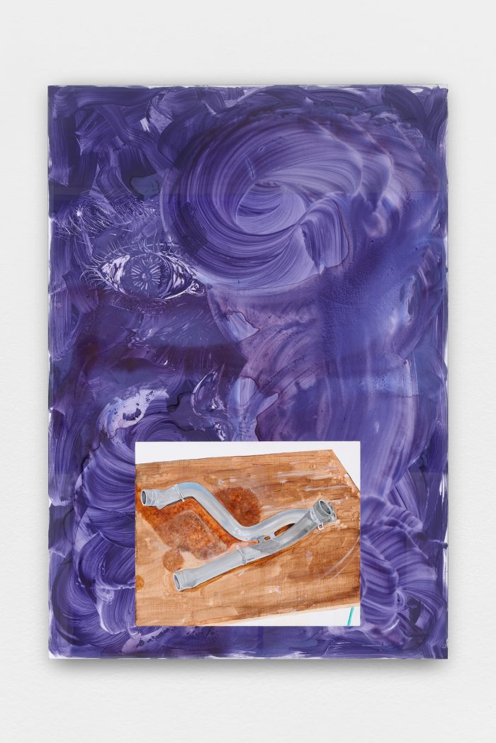Collaboration with Will Benedict, Untitled, 2015, acrylic on canvas, acrylic on foamcore, aluminum and glass, 155 x 108 cm (61 x 42 ½ in.) framed
