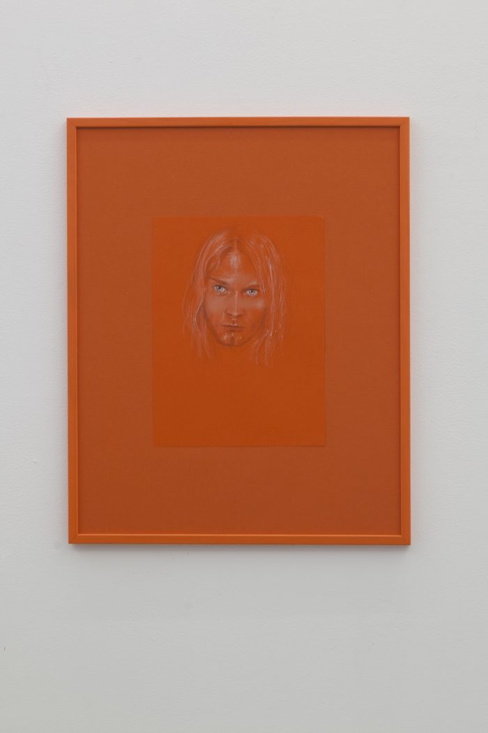 Kurt Cobain, 2014, colored pencil and make-up powder, 28 x 21 cm Frame: painted wood and paper, 40 x 30 cm