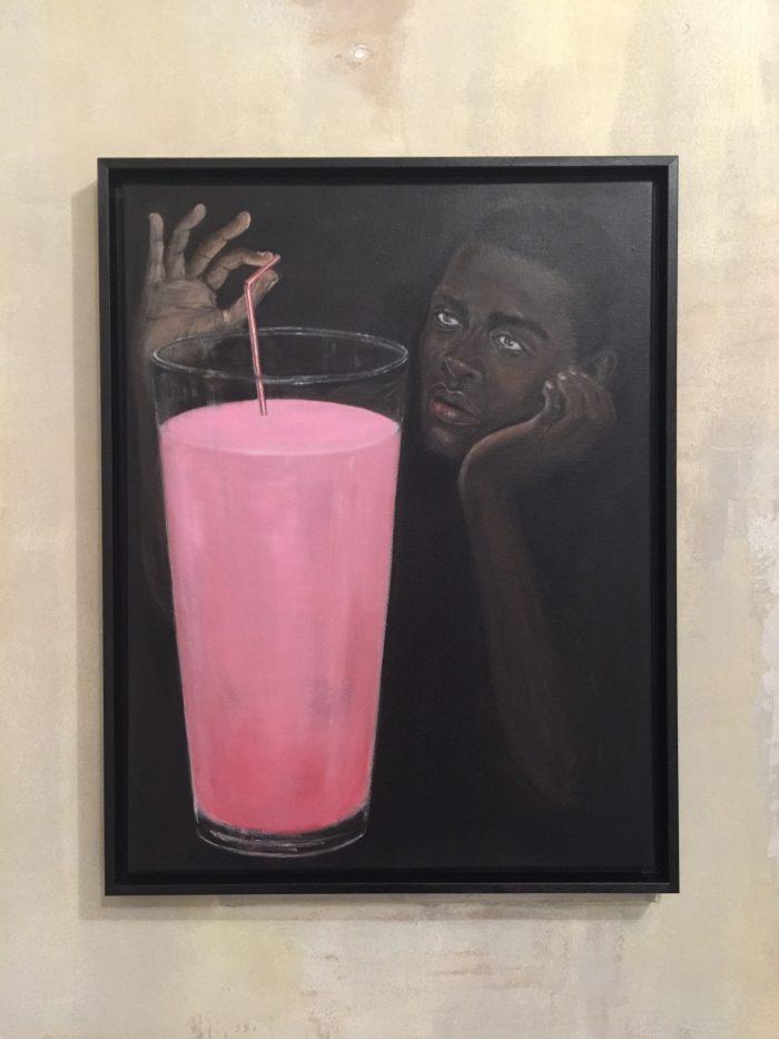 Lait Fraise, 2016, oil on canvas, 65 x 50 cm (25 1/2 x 5/8 inches)